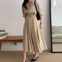 Ukawaii 気質アップ カジュアル ファッション ウエスト締め 着瘦せ 長袖 通勤 OL ロングワンピース