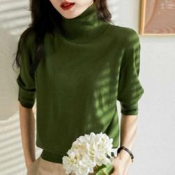 Ukawaii おしゃれ度高め 多色展開 通勤/OL シンプル 無地 ハイネック ファッション 半袖 ニットセーター