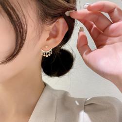 Ukawaii 好感度UP スウィート ラインストーン ビーズ 幾何模様 真鍮 ピアス