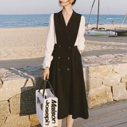 Ukawaii 上品な可愛さ 韓国風 ファッション 切り替え 配色 OL 通勤 フェイク・レイヤード ワンピース