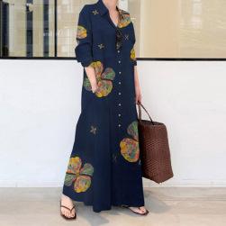 Ukawaii 絶対欲しい 大きいサイズ ファッション プリント シングルブレスト 森ガールワンピース