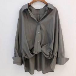 Ukawaii 組み合わせ自由 フェミニン シングルブレスト 無地 ショート丈 折襟 長袖 カジュアルシャツ