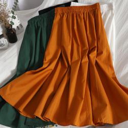 Ukawaii 一番人気 無地 Aライン ハイウエスト 夏 新作 着回し最強 韓国系 スカート