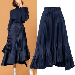Ukawaii 人気爆発中 ファッション不規則 無地 Aライン ギャザー飾り ハイウエスト スカート