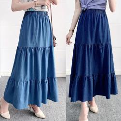 Ukawaii 可愛いデザイン ギャザー飾り 無地 ハイウエスト シンプル デニムスカート