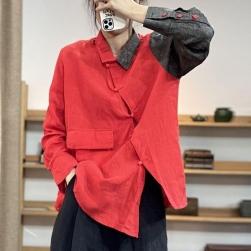 Ukawaii 定番シンプル カジュアル シングルブレスト 配色 切り替え POLOネック シャツ