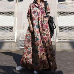 Ukawaii おすすめ 人気 大きいサイズ 花柄 長袖 折り襟 森ガールワンピース