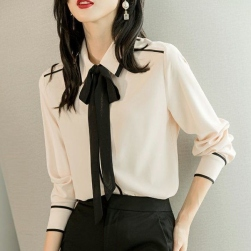 Ukawaii 若見え おしゃれ 配色 切り替え スカーフ付き ファッション シフォン シャツ