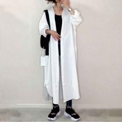 Ukawaii 8色 簡約 無地 折り襟 長袖 スリット レディース シャツワンピース