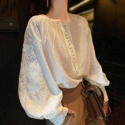 Ukawaii 売り切れ必至 おしゃれ度アップ セレブリティ 刺繍 ランタンスリーブ ボタン ラウンドネック シャツ