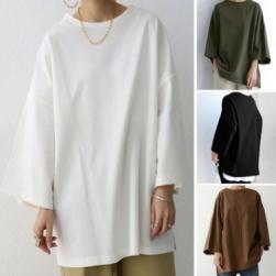 Ukawaii 雑誌等に多数掲載 4色展開 シンプル プルオーバー 無地 ラウンドネック 九分袖Tシャツ