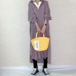 Ukawaii 大人可愛い ゆったり 着瘦せ 無地 長袖 シングルブレスト ロングワンピース