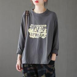 Ukawaii 話題沸騰中 プリント ラウンドネック シンプル 着回し最強 長袖 メンズ Tシャツ