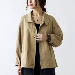 Ukawaii 個性的なデザイン 折り襟 防風 シングルブレスト 長袖 ジャケット 森ガールアウター