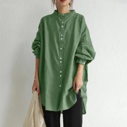Ukawaii 組み合わせ自由 ファッション スタンドネック 無地 長袖 森ガール シャツ