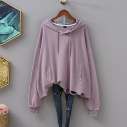 Ukawaii 毎週新商品を更新 定番 ファッション 無地 透かし彫り フード付き 長袖 パーカー