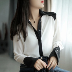 Ukawaii デザイン性抜群 ファッション 切り替え 配色 合わせやすい シフォン シャツ