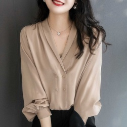 Ukawaii 新商品 韓国系 シンプル 無地 ギャザー飾り 長袖 Vネック ボタン シャツ