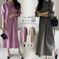 Ukawaii 質感のいい ファッション シングルブレスト ストレートスカート 長袖 カジュアルワンピース