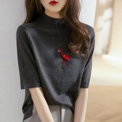 Ukawaii 上品さたっぷり 韓国風 ファッション 動物柄 ハーフネック 五分袖 ニット Tシャツ