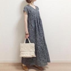 Ukawaii 柔らかくて優しい印象 vネック ファッション レース 透かし彫り ロングワンピース