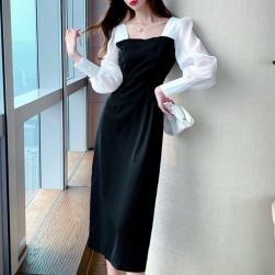 Ukawaii 雑誌掲載商品 切り替え 配色 ファッション レトロ 着瘦せ セクシーワンピース