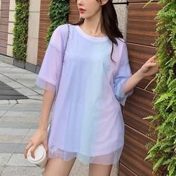 Ukawaii 綺麗めファッショングラデーション色メッシュ半袖Tシャツ
