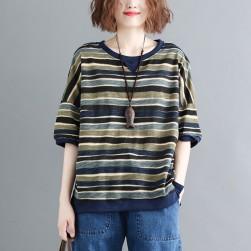 Ukawaii 上質感文芸スタイル配色ボーダー半袖カジュアルトップス
