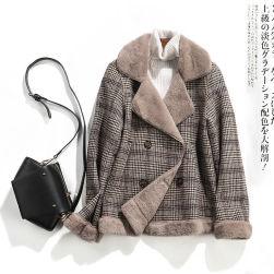 Ukawaii 気質満点!カジュアル ファッション セレブ気質 チェック柄 ボタン ショート丈 厚手 コート