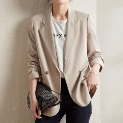 Ukawaii 高見えデザイン レディース 通勤 フェミニン 無地 気質満点 長袖 スーツジャケット