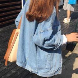 Ukawaii 上質感学園風POLOネック無地デニム長袖切り替え春秋シングルブレストジャケット