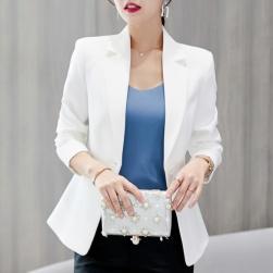 Ukawaii 高級感通勤/OL折襟無地長袖切り替えボタンスーツ