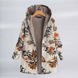 Ukawaii 大注目冬防寒ファッションプリント長袖フード付きダウンコート