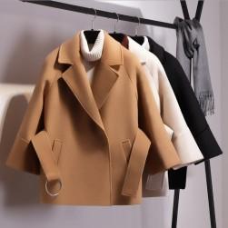 Ukawaii レディースシンプルファッション合わせやすい無地ワイド全3色ショートコート