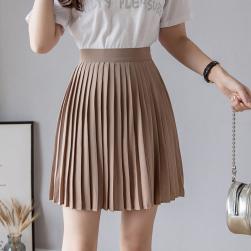 Ukawaii 全4色合わせやすい新作無地ショート丈プリーツスカート