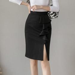 Ukawaii 大人 定番 通勤/OL スリット ギャザー飾り 無地 膝丈 タイトスカート