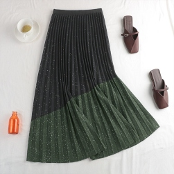 Ukawaii 綺麗め エレガント ラメ入り 配色 切り替え プリーツ ロングスカート