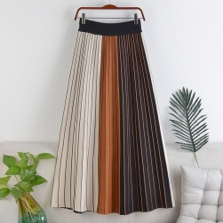 Ukawaii 好感度100% 定番 ハイウエスト Aライン すね丈 ニット 配色 スカート