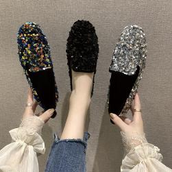 Ukawaii キラキラ スパンコール ファッション 柔らかい レディース フラットシューズ