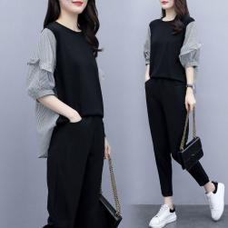Ukawaii 大人気 シンプル 切り替え 配色 パフスリーブ シャツ+ハイウエスト カジュアルパンツ 二点セット