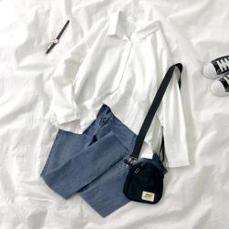 Ukawaii【単品注文】人気高い シンプル 長袖 シャツ+スリット 着瘦せ デニム パンツ 2点セット