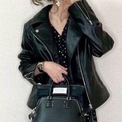 Ukawaii 目を奪われる ファッション デザイン性 ゆったり 無地 PU ファスナー ジャケット