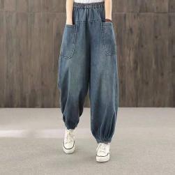 Ukawaii 每日秋冬新作追加 ファッション カジュアル ハイウエスト 無地 レギュラー丈 デニムパンツ