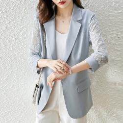 Ukawaii 気質アップ 無地 ボタン 七分袖 折襟 透かし彫り 切り替え レース スーツジャケット