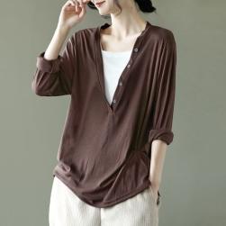 Ukawaii 今季大注目のアップ ファッション 切り替え 配色 Vネック プルオーバー Tシャツ