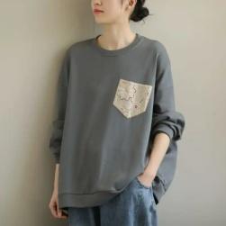 Ukawaii 大人可愛い カジュアル ルーズ 合わせやすい 長袖 L-XL レディース 森ガール トップス