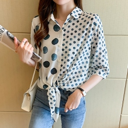Ukawaii 一枚で視線を奪う シンプル シングルブレスト ドット柄 プリント 折襟 シャツ