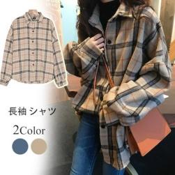 Ukawaii ファッション シングルブレスト チェック柄 長袖 POLOネック ゆったり シャツ