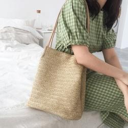Ukawaii 韓国カジュアル草編みマグネット肩掛けハンドバックトートバッグ