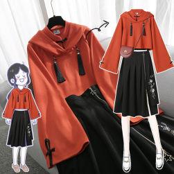 Ukawaii 美人度アップ スピーカースリーブ トップス +刺繍 プリーツ スカート ワンピース 2点セット